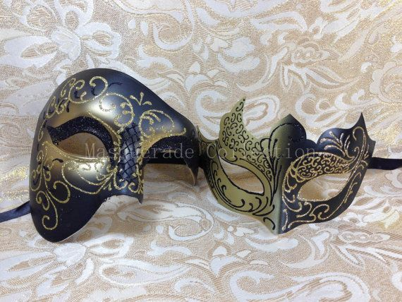 Gold Lining Couple Lover Masquerade Mask by MasqueradeCollection, $29.88