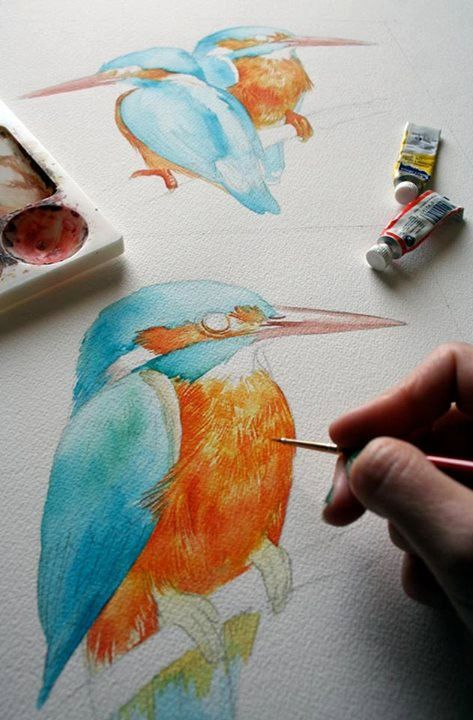 This is an original watercolour of a European Kingfisher Very colorful and full of detail, this beautiful bird has a lot of personality! Original watercolour painted on arches watercolor paper, 140lb cold pressed 8x10 inches Portrait/Vertical orientation