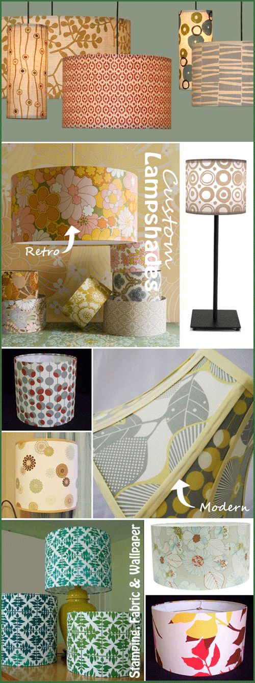 DIY:  Step by step tutorial on how you can make a custom lampshade out of styrene fabric, a lampshade frame, glue, tape and trim.