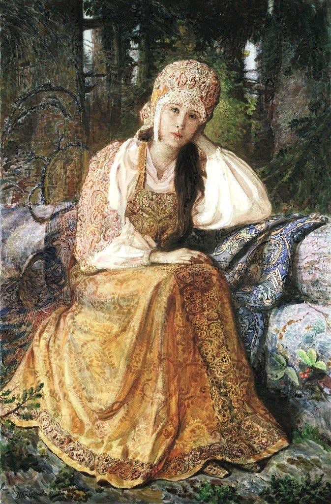 "Russian costume in painting. ""Girl in Kokoshnik Headdress"" by Natalia Besednova, a contemporary Russian artist. Date: 2004. #art"