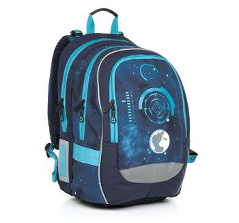 Plecak z motywem kosmosu i planet. Model CHI 799 D - Blue