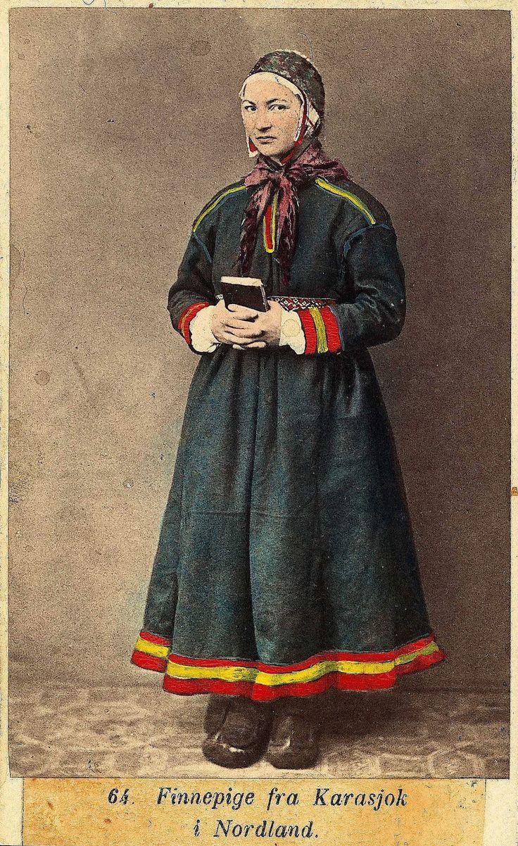 https://flic.kr/p/rWXbZe | Samisk jente i fra Karasjok (Norway) av Marcus Selmer 1819-1900. | NF.09398-012 Digitalt museum. Public domain.