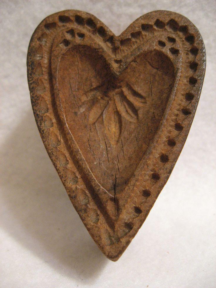 Antique Vtg Primitive Wooden Heart Shaped Mold Stamp Springerlie Cookie Butter       Sold  Ebay   235.00