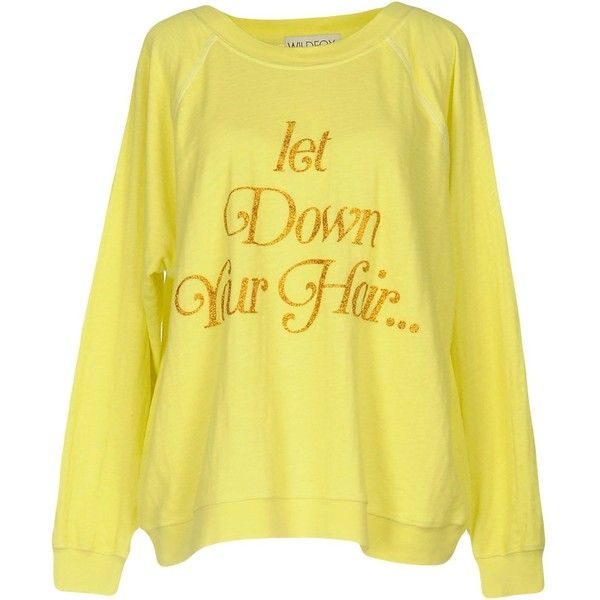 Wildfox Sweatshirt ($115) ❤ liked on Polyvore featuring tops, hoodies, sweatshirts, yellow, glitter sweatshirt, yellow long sleeve top, wildfox sweatshirts, glitter top and wildfox
