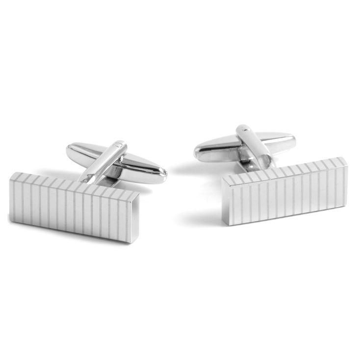 Aflange Sølv Stregede Manchetknapper - 139,00kr