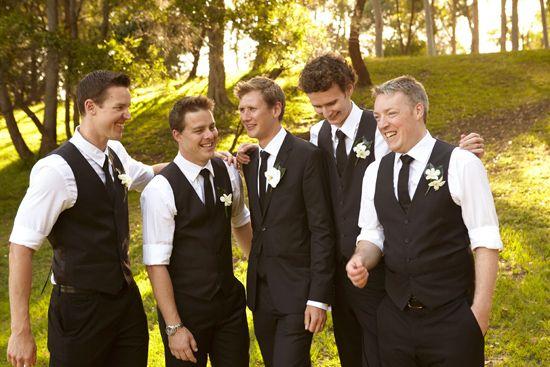Groomsmen attire, black & white wedding