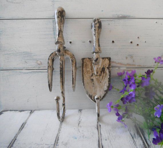rusty wall hooks garden tool hooks french country cottage chic shabby hook coat hook set she shed decor rustic garden decor porch decor  SET by ShabbyRoad on Etsy https://www.etsy.com/listing/287279215/rusty-wall-hooks-garden-tool-hooks