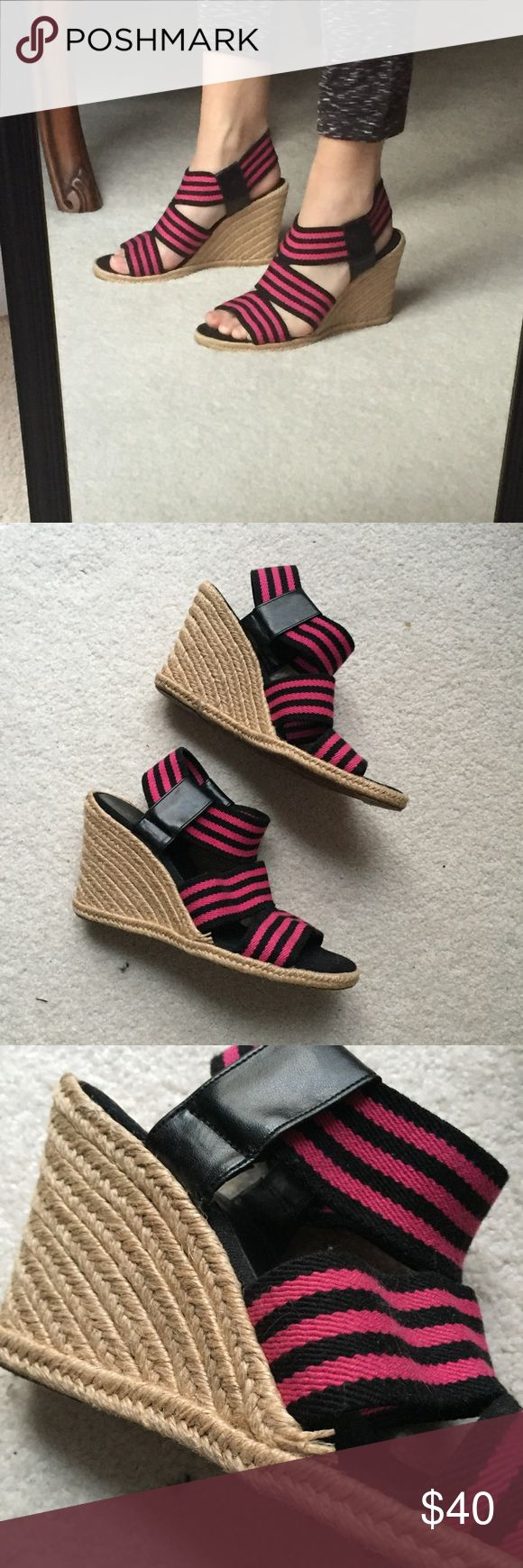 Tahari Striped Wedges Bubblegum pink and black stripes. These are well-loved, but still have life in them! The straw is coming up on the side of one of the wedges, pictured above. Otherwise in great condition. The height is about 2.5 inches. The straps are stretchy material. Tahari Shoes Wedges