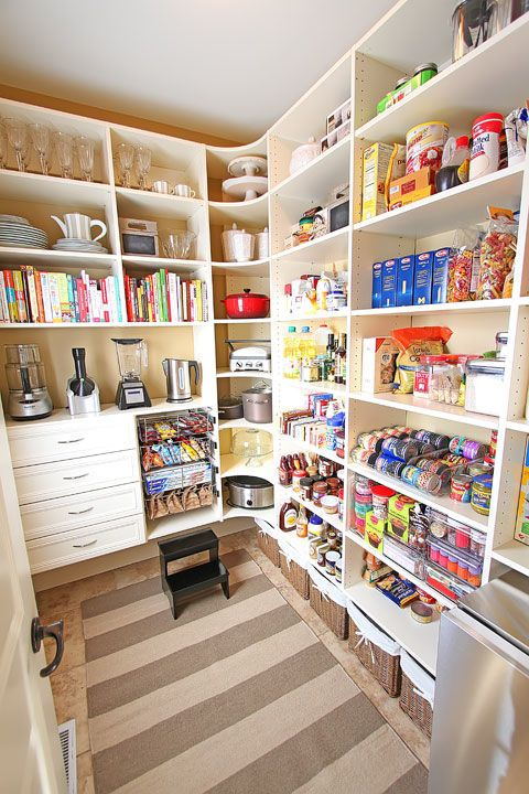 A well designed pantry has a home for everything including small snacks, china, and appliances. Get the tutorial at Kevin and Amanda.