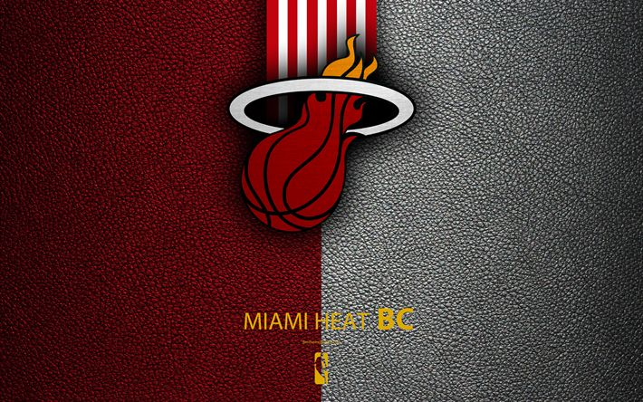 Download wallpapers Miami Heat, 4k, logo, basketball club, NBA, basketball, emblem, leather texture, National Basketball Association, Miami, Florida, USA, Southeast Division, Eastern Conference
