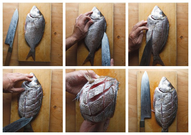 There is something so elemental about gathering friends and family around a beautifully fried whole fish and going at it with chopsticks. We like to use sea bass, but you can also use red snapper, flounder, striped bass or a small grouper. The trick is making cuts into the fish's body beforehand so you can easily pick the flesh off. This is how that is done.   Related: The History Of Japanese Soul Cooking In 100 Recipes