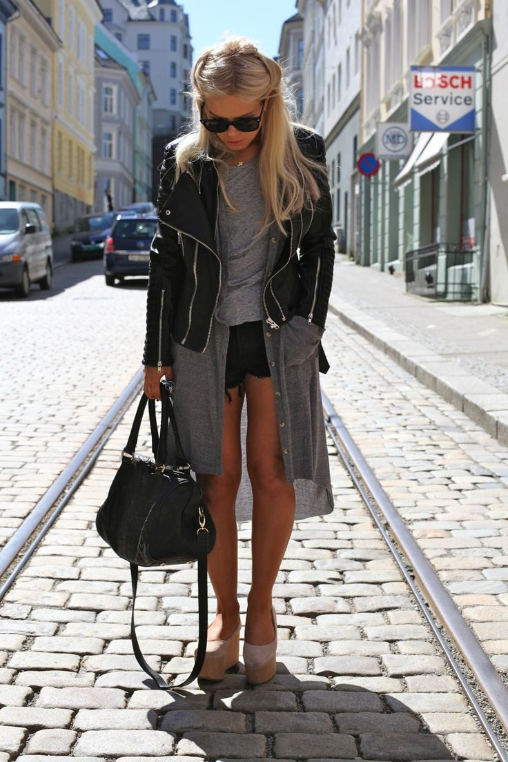Leather, trench and clogs