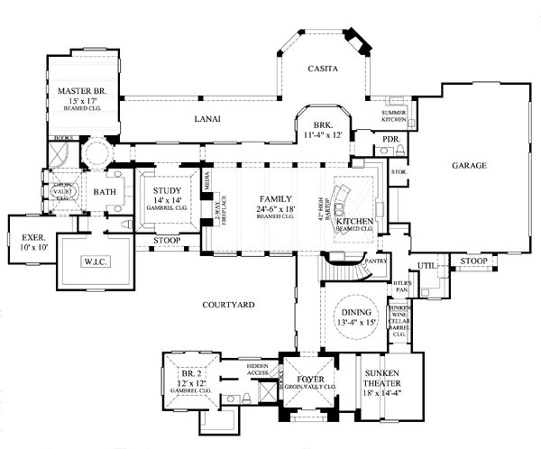 73 best courtyard floor plans images on pinterest floor for Floor plans hidden rooms