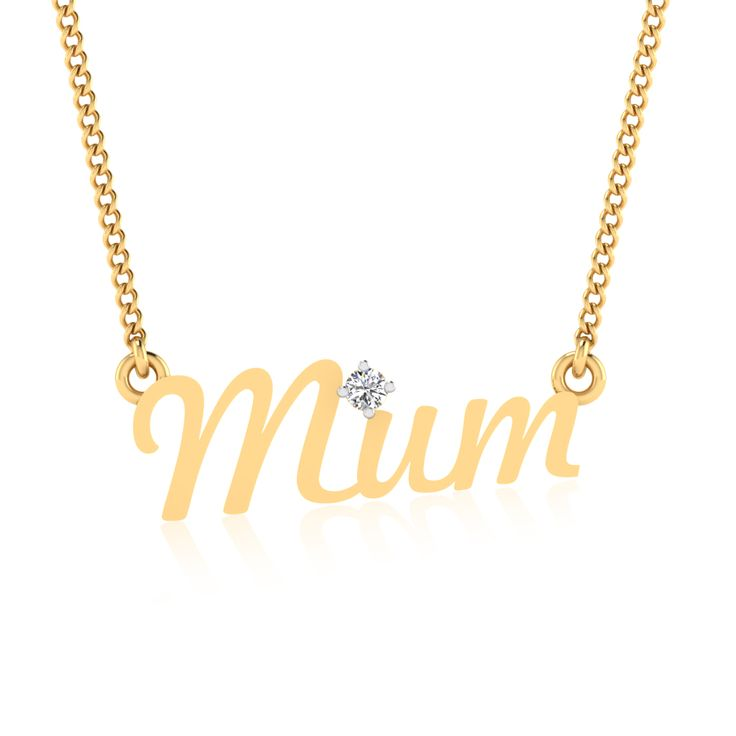 MOTHERS DAY SPECIAL!! Prong Diamond MOM Charm Pendant 14kt Yellow Gold Jewelry #Mother#Pendant