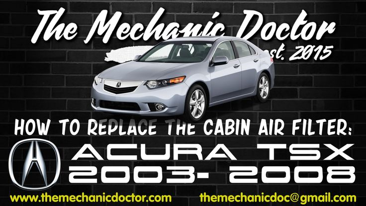This video will show you step by step instructions on how to replace the cabin air filter on a Acura TSX 2003- 2008.