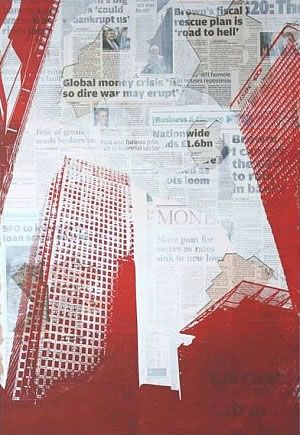 A white ground in this skilful A Level art print by Alexander Pavely from Richmond upon Thames College partially obscures a layer of collaged newspaper. This makes the text less visible and allows the red buildings to stand out when printed over the top. It also makes makes the newspaper less absorbent, creating a better surface for the ink to print upon.