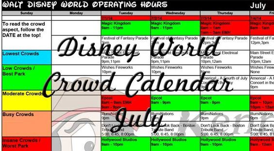 2015 July Disney World crowds calendar, park hours, show schedules, fastpass dates, dining booking dates, best parks July 2015 Disney World Crowd Calendar will be available in mid-December 2014. J...