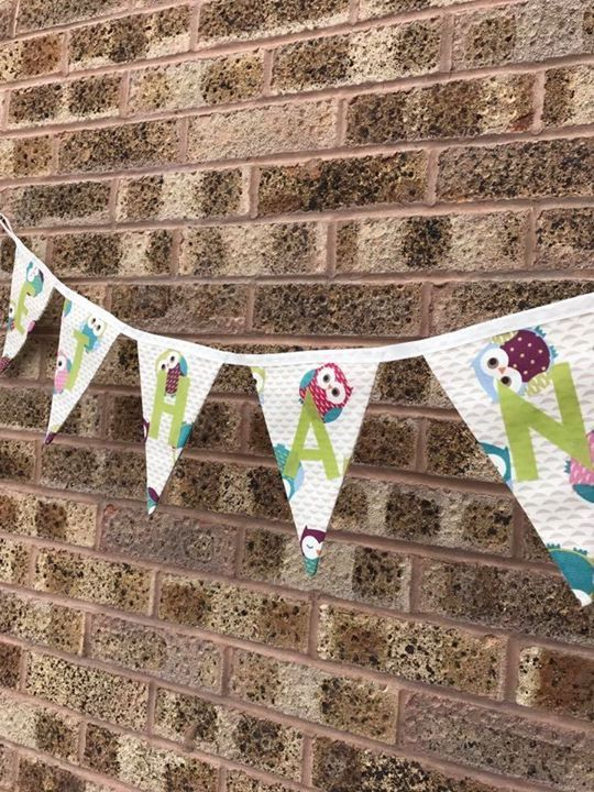 Personalised bunting has been posted out today! 😍 I can get lots of different fabrics so please just drop me a message if there is something you would like!