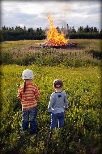 Traditional Midsummer Bonfire - Raahe, Finland