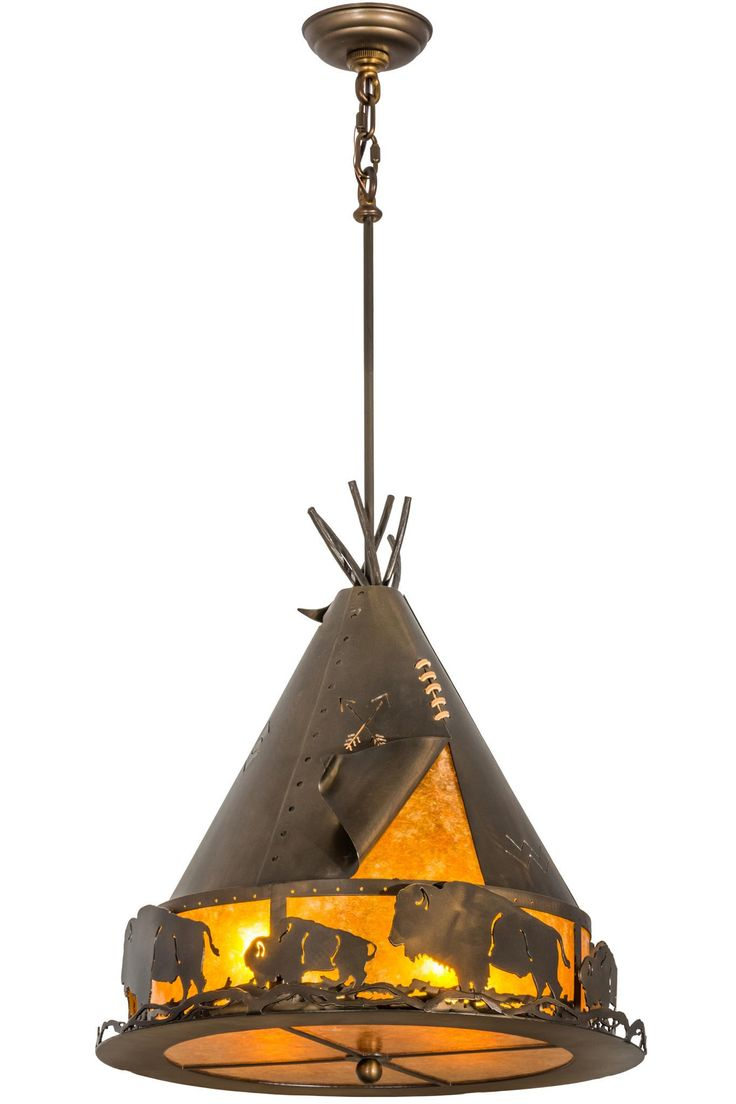 20 Inch W Teepee W/ Buffalo Pendant. 20 Inch W Teepee W/ Buffalo PendantA herd of Majestic Buffalo roam the prairie as theyshare wilderness living with Native Americans. this stunner of a pendant, detailed in its decorativeartistry, is designed with accents and hardware featured in an Antique Copper finish while warm ambient light is illuminated through Amber Mica. Handcrafted by highly skilled artisans, this fixture is created in the Meyda manufacturing facility in the USA....