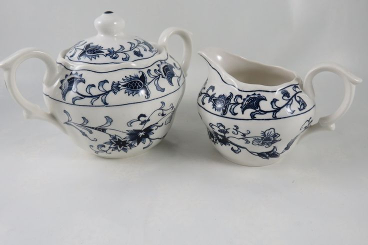 Nikko Ming Tree Blue Creamer or Sugar or Set  - Double Phoenix Backstamp - Made in Japan by CheekyBirdy on Etsy
