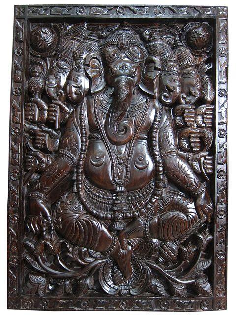 India Door Panchmukhi Ganesha Wall Sculpture Carved Panels