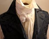 REGENCY Brummel Victorian Ascot Tie Cravat - Pure White Dupioni Silk.