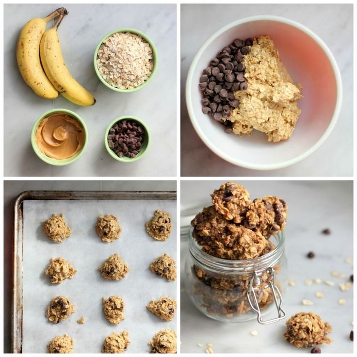 4 ingredient oatmeal Chocolate chip cookies plus 2 other 4- ingredient cookie recipes - Make these for snacking when baby comes.