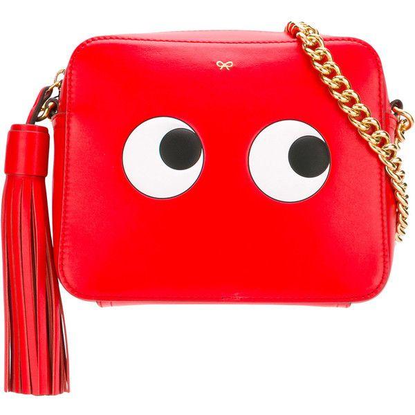 Anya Hindmarch Geisha Circus crossbody bag (690 AUD) ❤ liked on Polyvore featuring bags, handbags, shoulder bags, red, crossbody purses, cross-body handbag, red handbags, leather cross body purse and red leather handbags