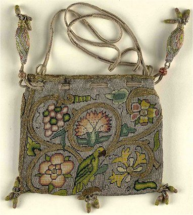"""Book or sweete bag, late 16th C. 'Sweete Bags' were often given as gifts themselves or used as container for gifts, such as gold coins. They are some of the best known examples of Elizabethan embroidery, due to the large number which have survived to the present day. It is likely that they have survived in such numbers because the beauty of the items has made them desirable since they were first made."""