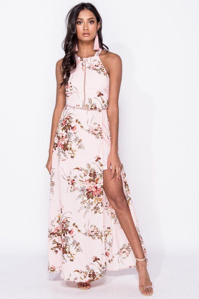 95e862c143cc Floral Ladder Trim Thigh Split Maxi Dress - Elegant/Stylish - Evening/Day  Wear
