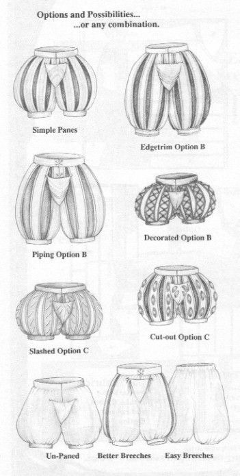 """This image shows the various shapes and designs of men's """"slops"""" or """"breeches"""" during the Elizabethan era. Stockings would be worn underneath these pants."""