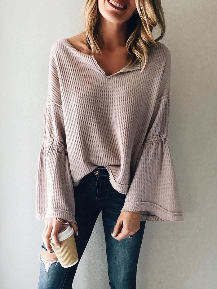European And American Style V Neck Long Sleeve Pure Colour Sweater
