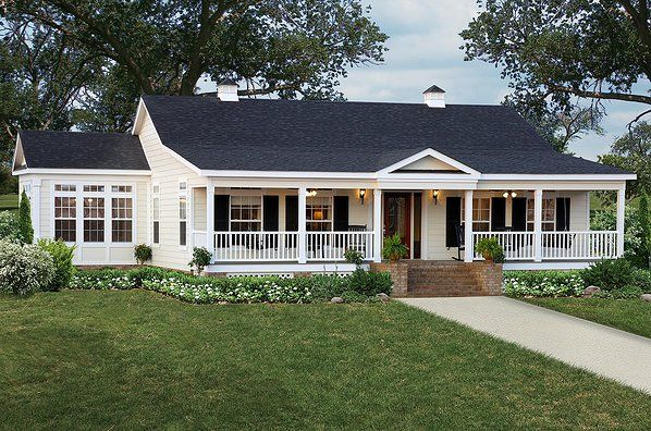hip roof front porches for ranch style homes | notice how the porch starts higher on the home