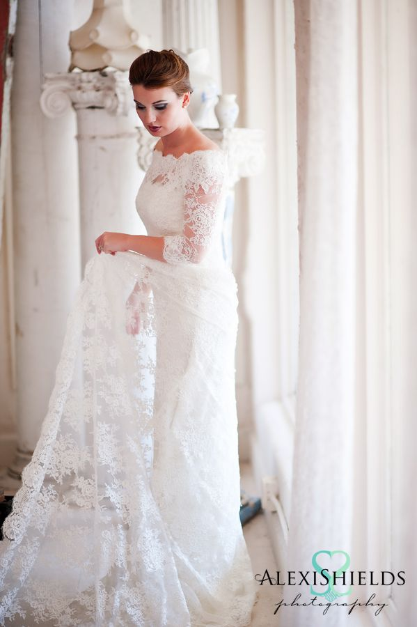 Vintage lace wedding dress with long sleeves and off the for Vintage off the shoulder wedding dresses