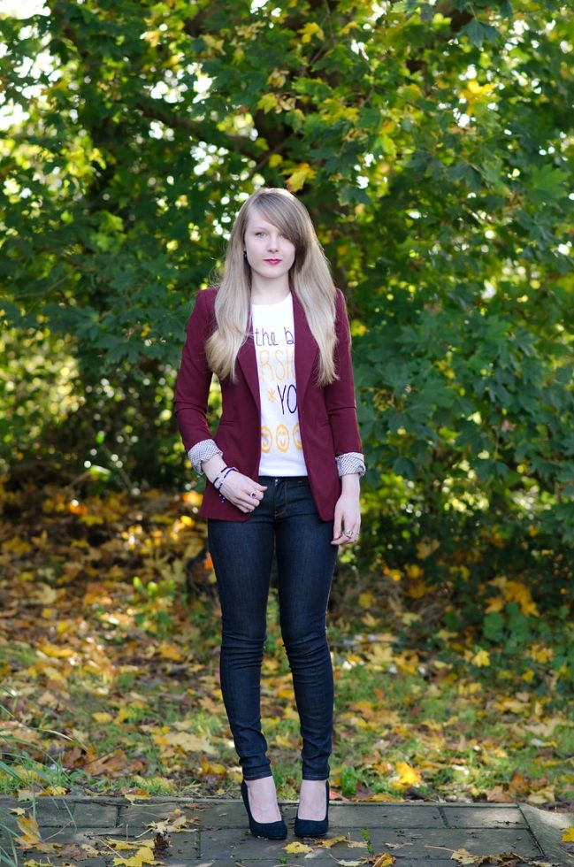 #Guest #Blog: Being #Eco-Friendly With #Denim | #Fashion blog | #Oxfam GB: Light Pink Blazers, A N D Jeans, A Mini-Saia Jeans, Tights Jeans, Jeans Burgundy, Skinny Jeans, Zara Blazers, Fashion Blog, Burgundy Blazers