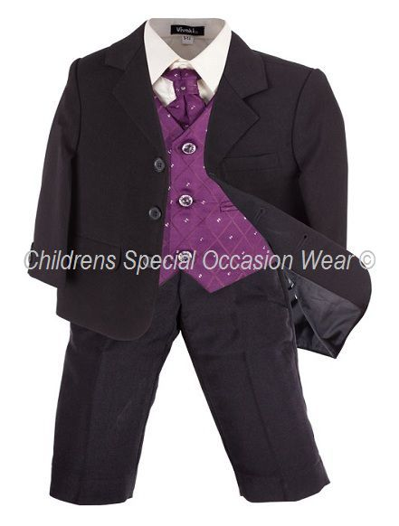 Boys Cadbury Purple 5 Piece Suit, Wedding Pageboy Christening Outfit, 0-10 years, comprising of purple waistcoat & cravat, ivory shirt, black jacket & trousers, Childrens Special Occasion Wear