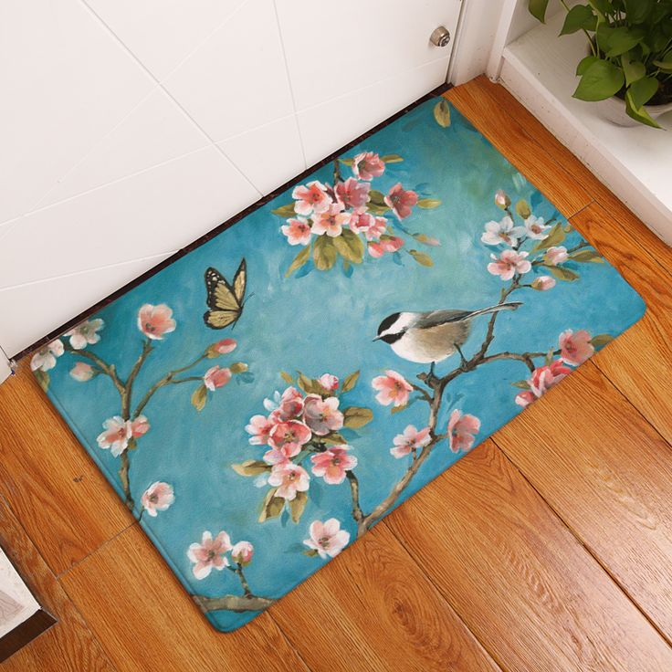 2017 New Cage Birds Print Carpets Non Slip Kitchen Rugs For Home Living Room Floor