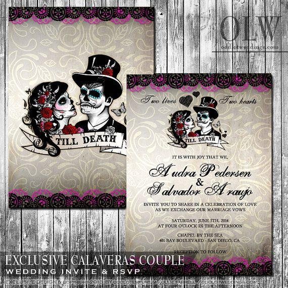 Dia De Los Muertos Wedding Theme Ideas: Day Of The Dead Wedding Invitation And RSVP Set Dia De Los