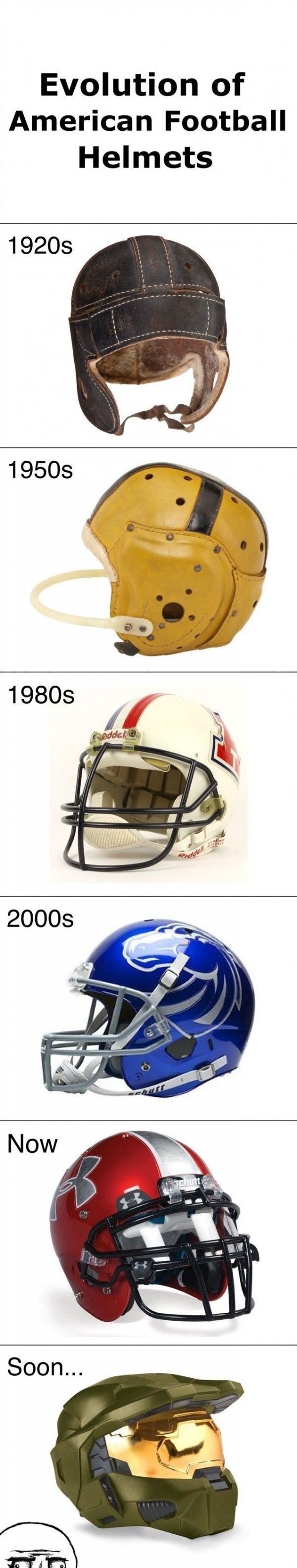 Evolution of football helmets - www.meme-lol.com