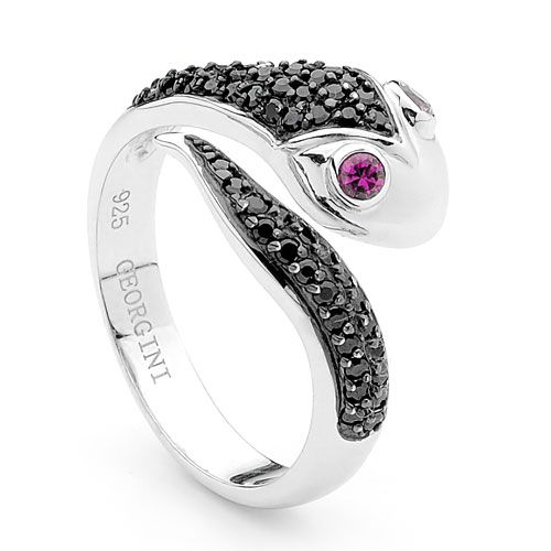 Georgini Rhodium-plated sterling silver 'Snake' ring is set with black and ruby cubic zirconia is available for AU$149.00 only.