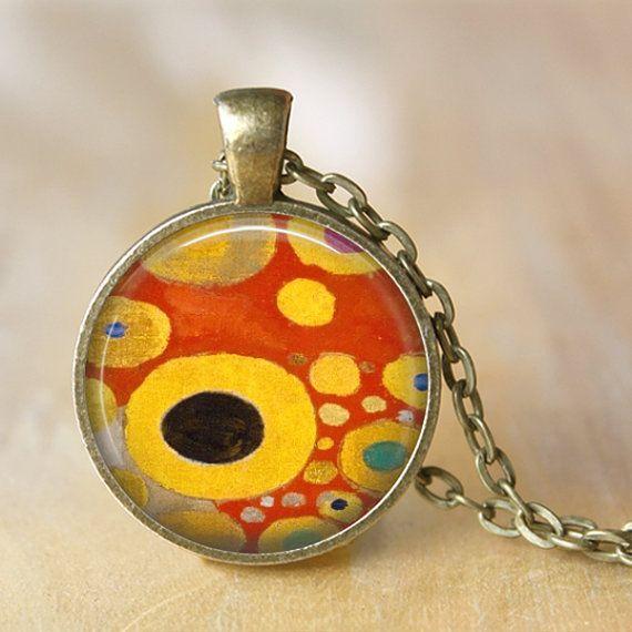 Gustav Klimt Necklace Pendant Necklace by LiteraryArtPrints