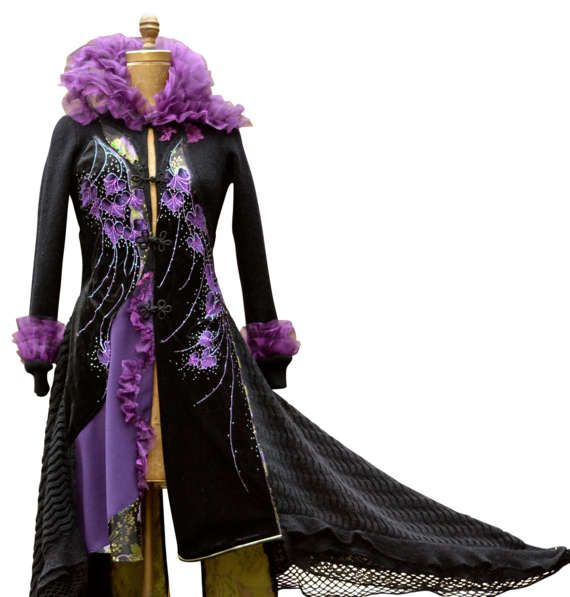 Black purple long Gothic sweater Coat Fantasy OOAK boho