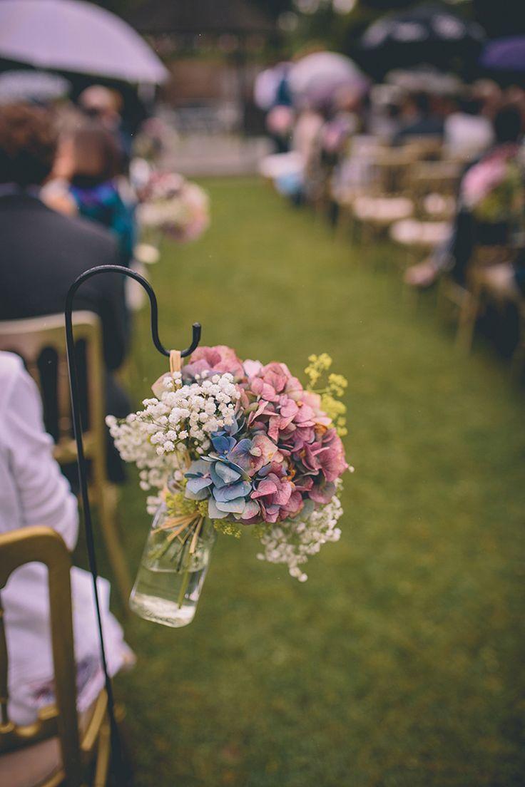 Hook Flowers Jar Hydrangea Ceremony Aisle Homespun Fun Country Barn Wedding http://storyandcolour.co.uk/