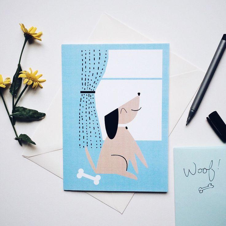 Dog greeting card, Scandinavian style, Modern style, Blank card, Card for him, Card for her, Greetings card, Birthday card by dandiifluff on Etsy https://www.etsy.com/listing/245812987/dog-greeting-card-scandinavian-style