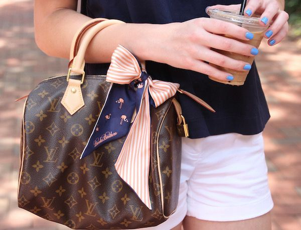 Gimme Glamour: Bloggers who Brunch. Classic/preppy look, Louis Vuitton Speedy 25, flamingo striped scarf