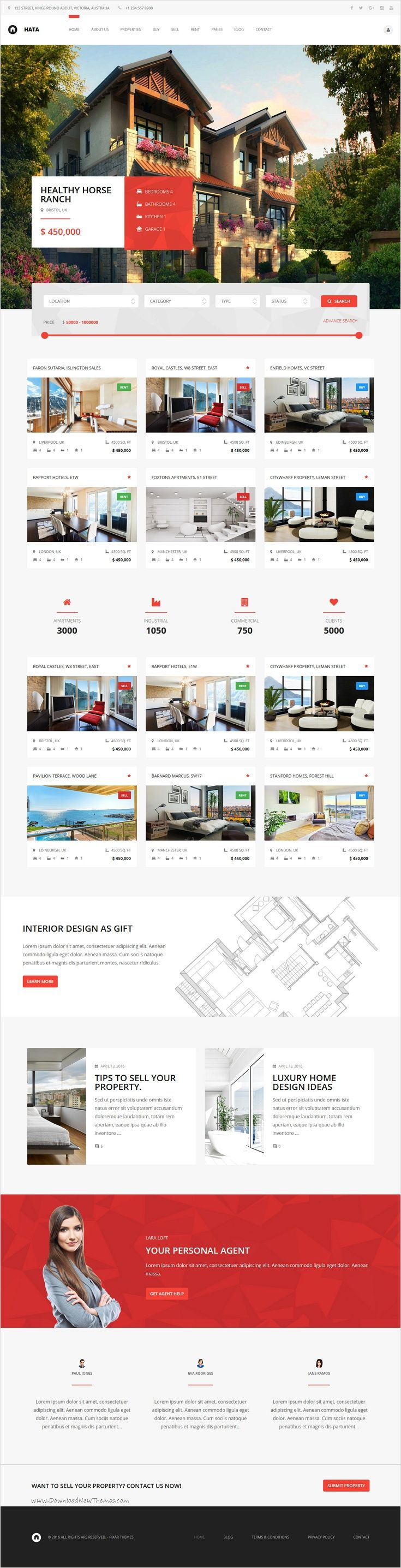 Hata is a very clean and modern design #WordPress theme for #realestate, #property #agents website download now➩ https://themeforest.net/item/hata-real-estate/16828651?ref=Datasata