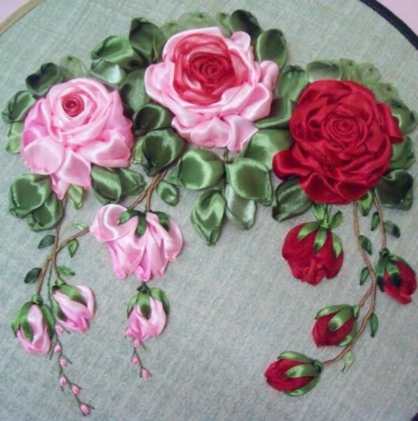 Ribbon rose embroidery i can see this design on a