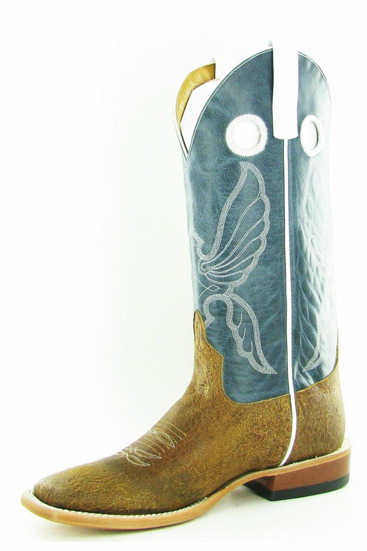 Anderson Bean Tan and Blue Aspen Cowboy Boots For Men