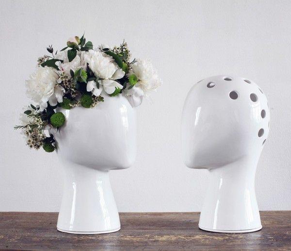 Flower head vaseWigs Vases, Da Cruz, Dacruz, Flower Power, Turquoise Blue Cross, Ceramics Vases, Industrial Design, Products, Tania Da